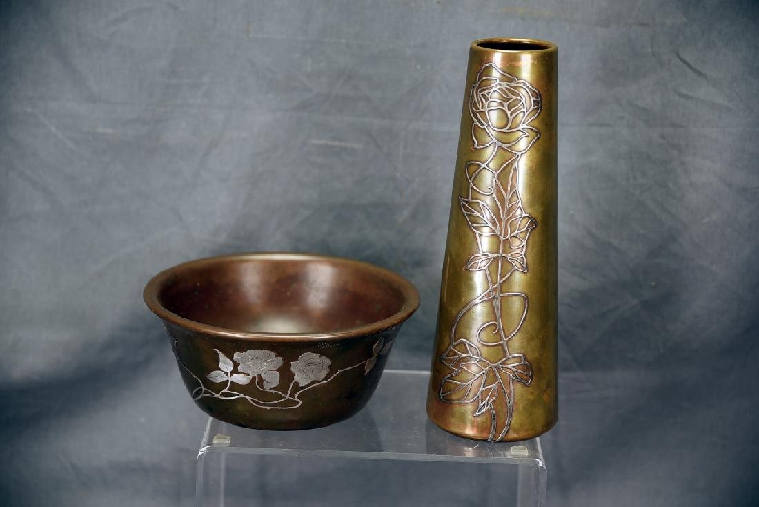 Sterling on Bronze, Possibly Heintz, Bowl and Vase