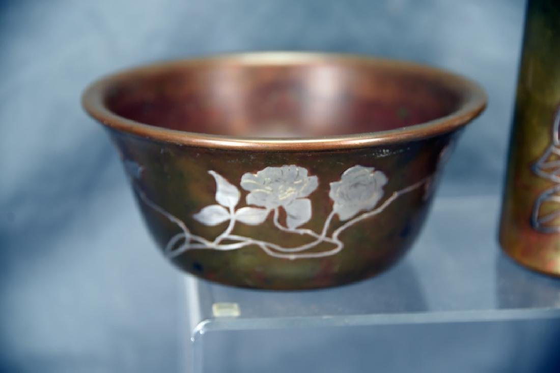 Sterling on Bronze, Possibly Heintz, Bowl and Vase - 3