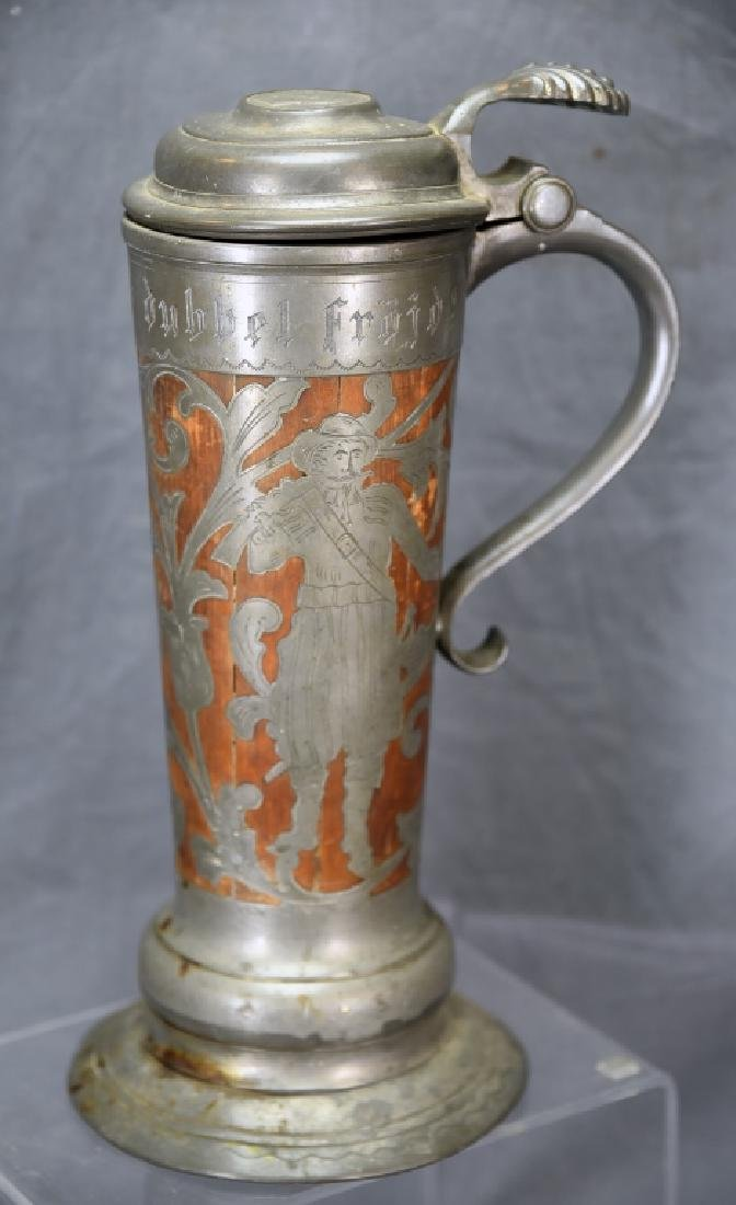 Oscar II  Swedish Stein, Wooden With Pewter Inlay