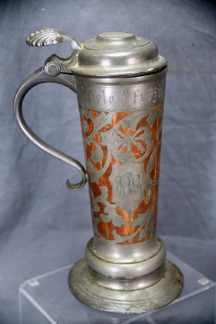 Oscar II  Swedish Stein, Wooden With Pewter Inlay - 2