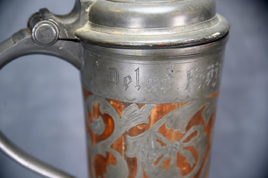 Oscar II  Swedish Stein, Wooden With Pewter Inlay - 3