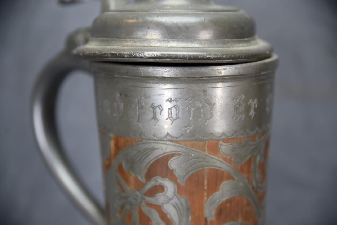 Oscar II  Swedish Stein, Wooden With Pewter Inlay - 4