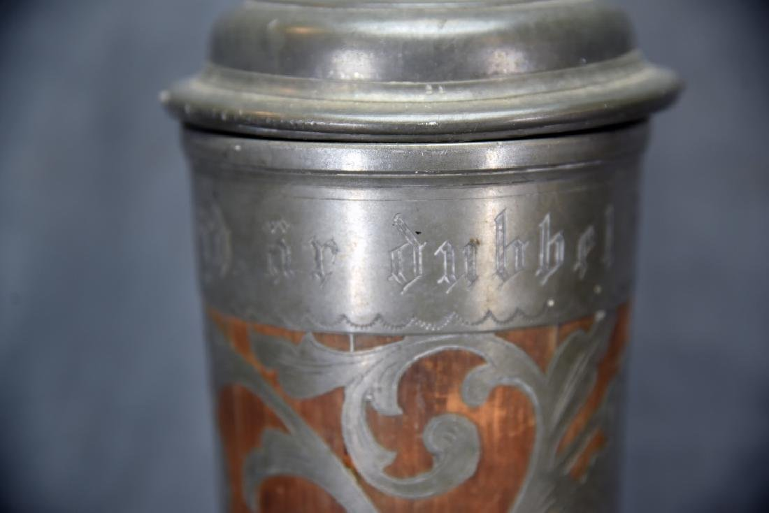 Oscar II  Swedish Stein, Wooden With Pewter Inlay - 5