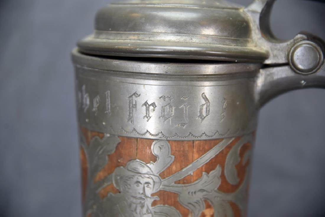 Oscar II  Swedish Stein, Wooden With Pewter Inlay - 6