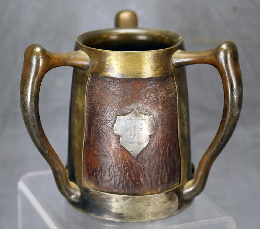 3 Handled Stein Pass Cup Leather and Silver Plate