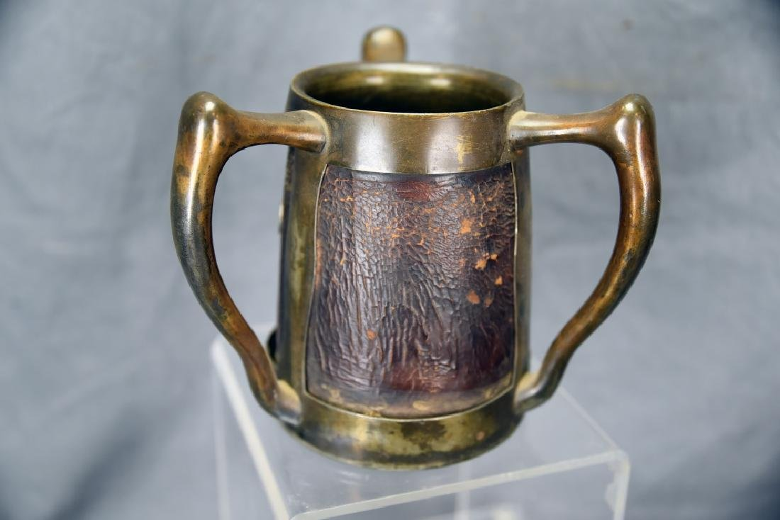 3 Handled Stein Pass Cup Leather and Silver Plate - 4