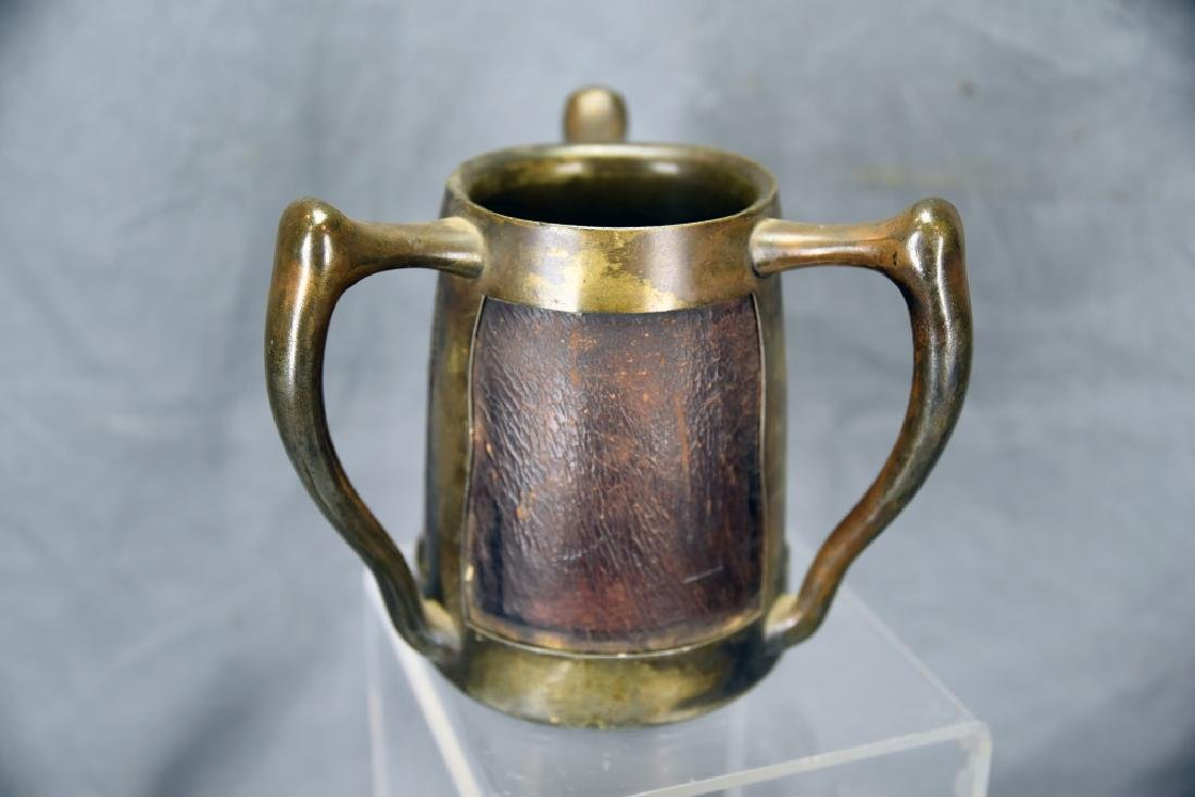 3 Handled Stein Pass Cup Leather and Silver Plate - 5