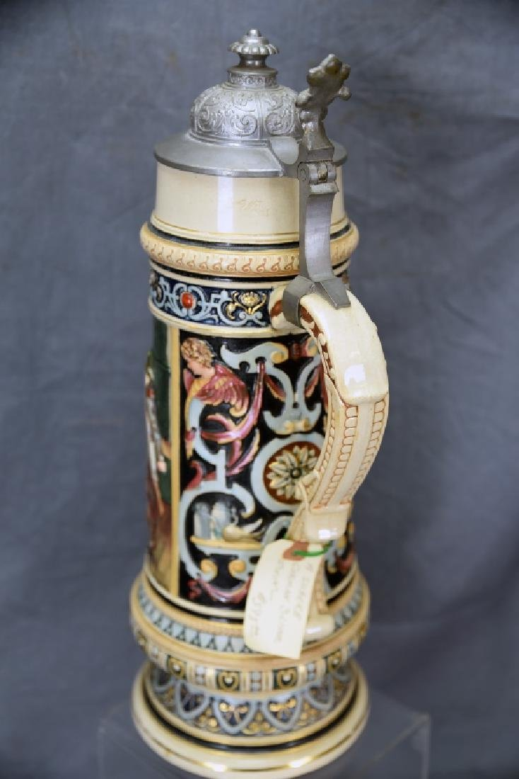 """16 1/2"""" Tall German Stein Painted Pottery Relief - 6"""