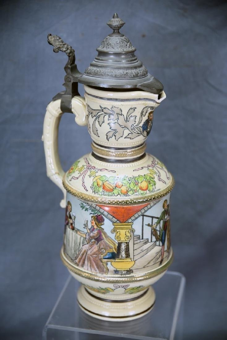"""15 1/2"""" Tall German Painted Pitcher Pewter Lid"""