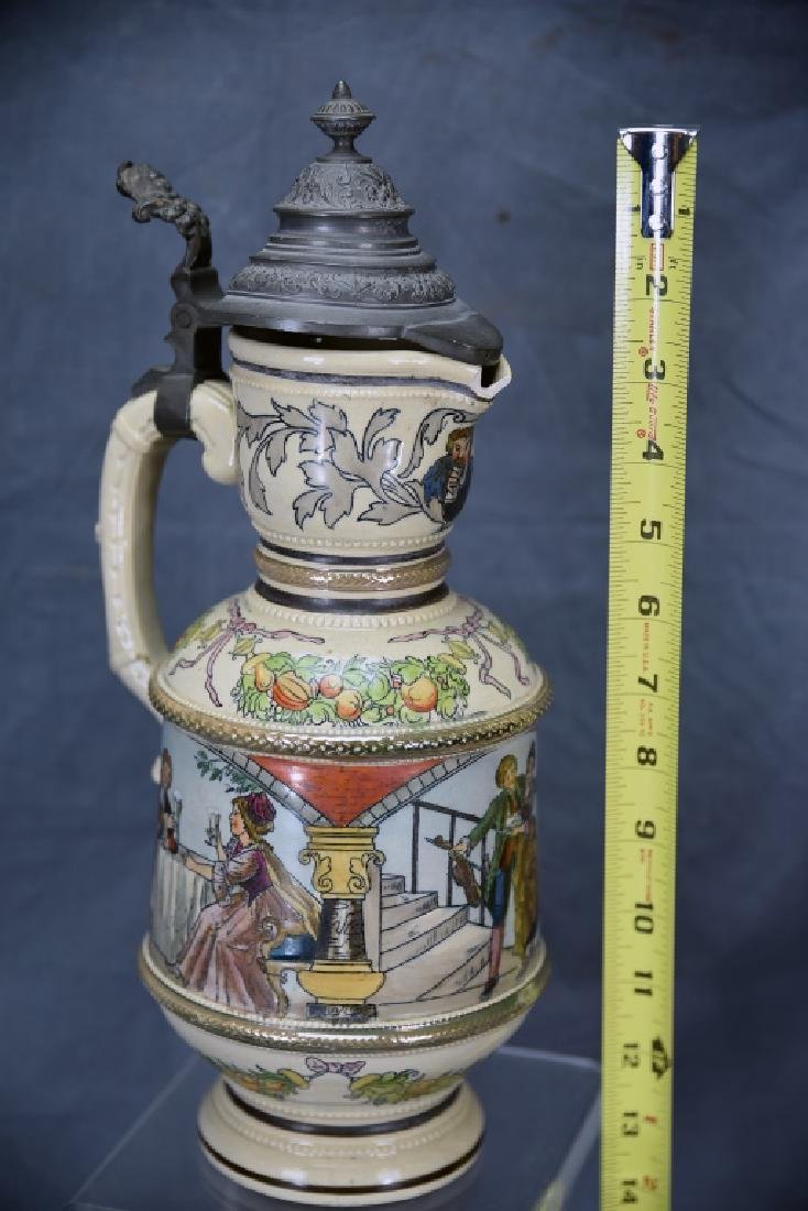 """15 1/2"""" Tall German Painted Pitcher Pewter Lid - 2"""