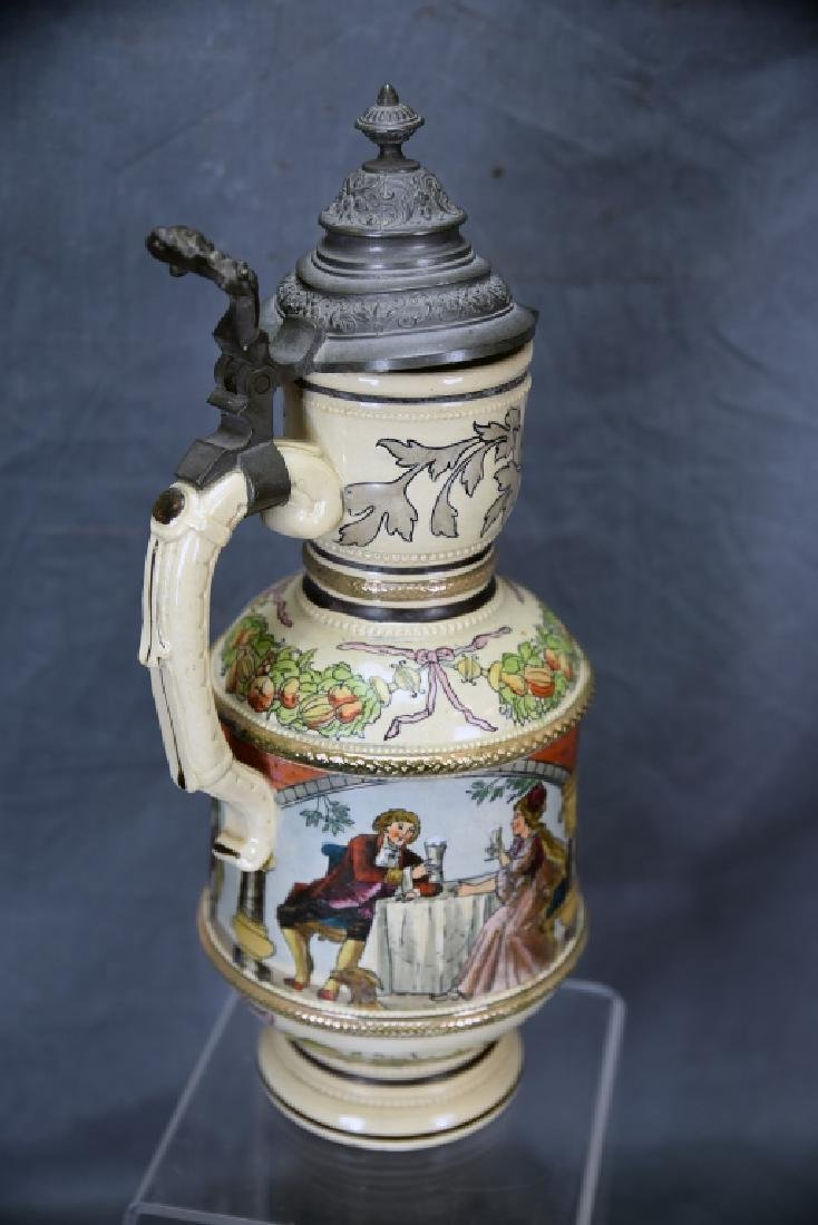 """15 1/2"""" Tall German Painted Pitcher Pewter Lid - 3"""