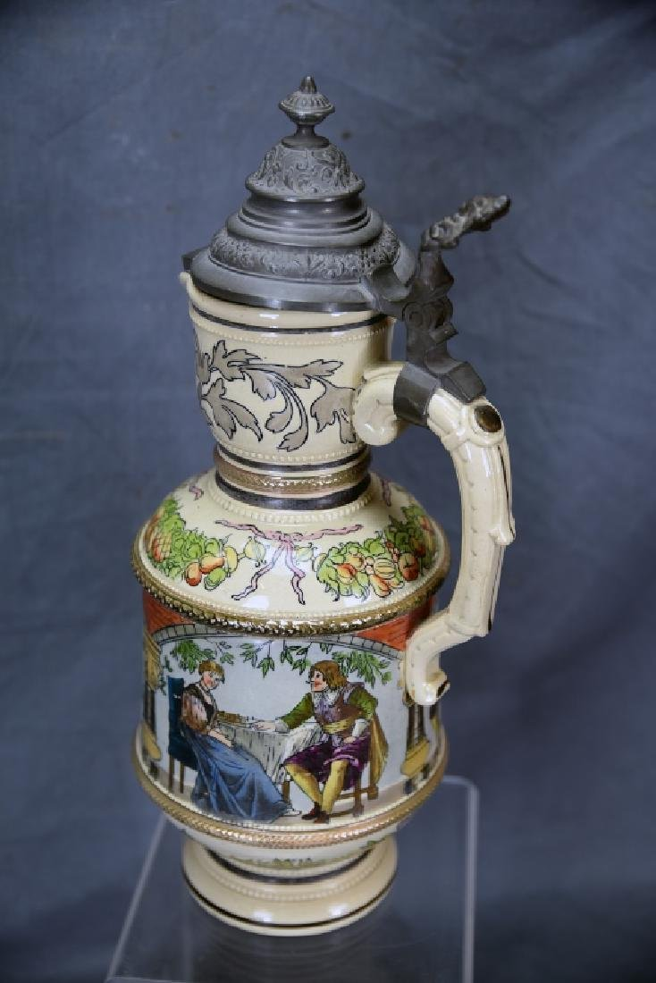 """15 1/2"""" Tall German Painted Pitcher Pewter Lid - 4"""