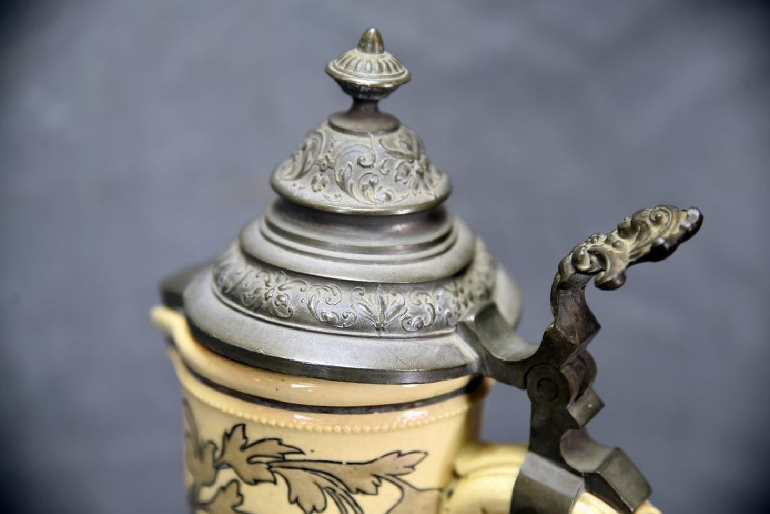 """15 1/2"""" Tall German Painted Pitcher Pewter Lid - 5"""