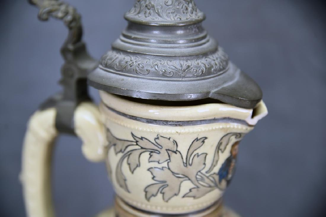 """15 1/2"""" Tall German Painted Pitcher Pewter Lid - 6"""