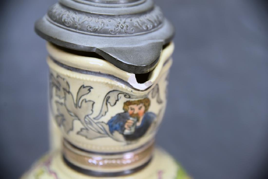 """15 1/2"""" Tall German Painted Pitcher Pewter Lid - 7"""