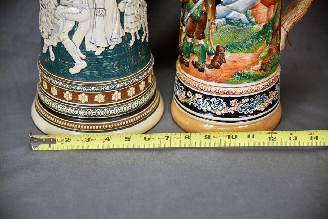 2 Tall German Pottery Relief Steins Pewter Lids - 3