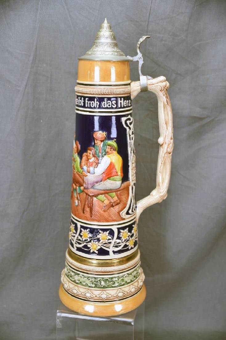 """17"""" tall German Pottery Stein Hinged Pewter Lid"""