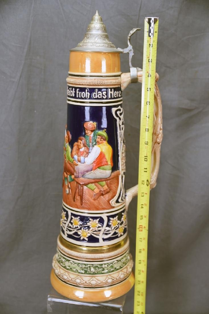 """17"""" tall German Pottery Stein Hinged Pewter Lid - 2"""