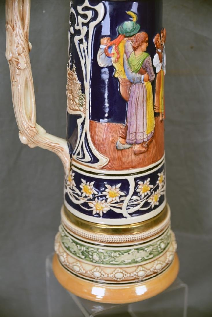 """17"""" tall German Pottery Stein Hinged Pewter Lid - 5"""
