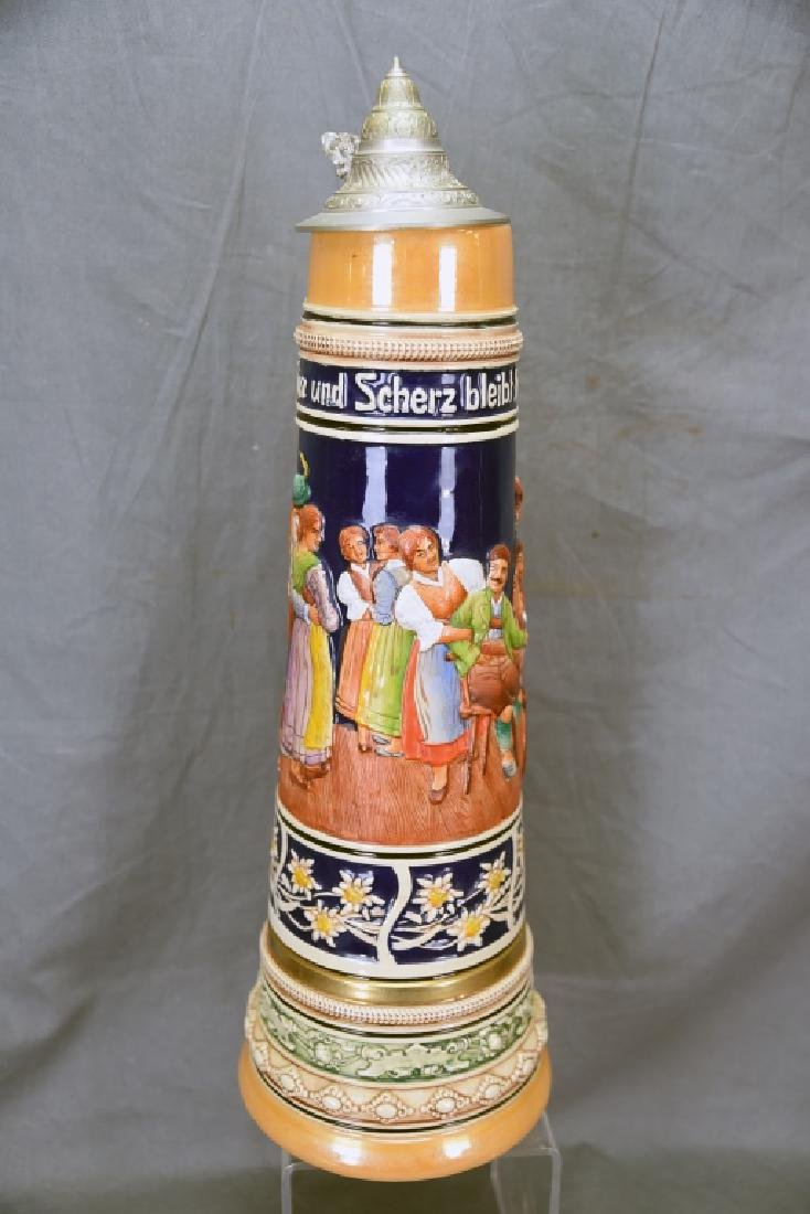 """17"""" tall German Pottery Stein Hinged Pewter Lid - 6"""