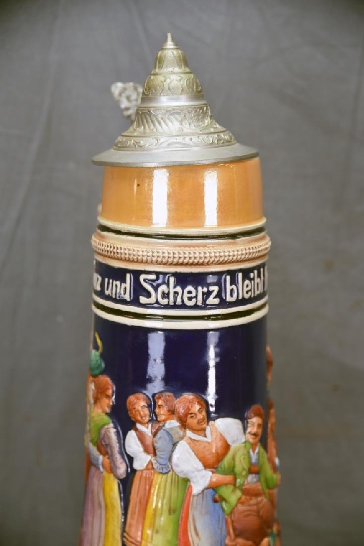 """17"""" tall German Pottery Stein Hinged Pewter Lid - 7"""