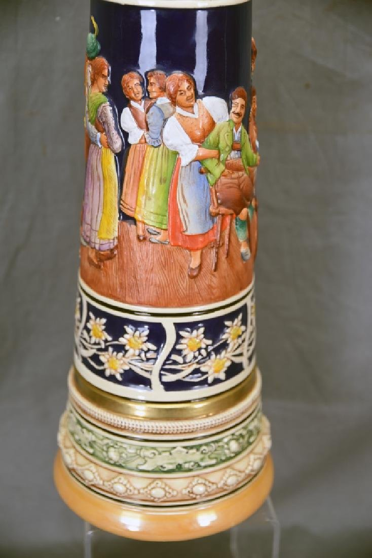 """17"""" tall German Pottery Stein Hinged Pewter Lid - 8"""