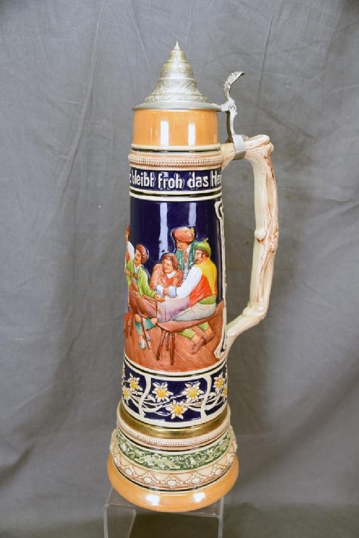 """17"""" tall German Pottery Stein Hinged Pewter Lid - 9"""