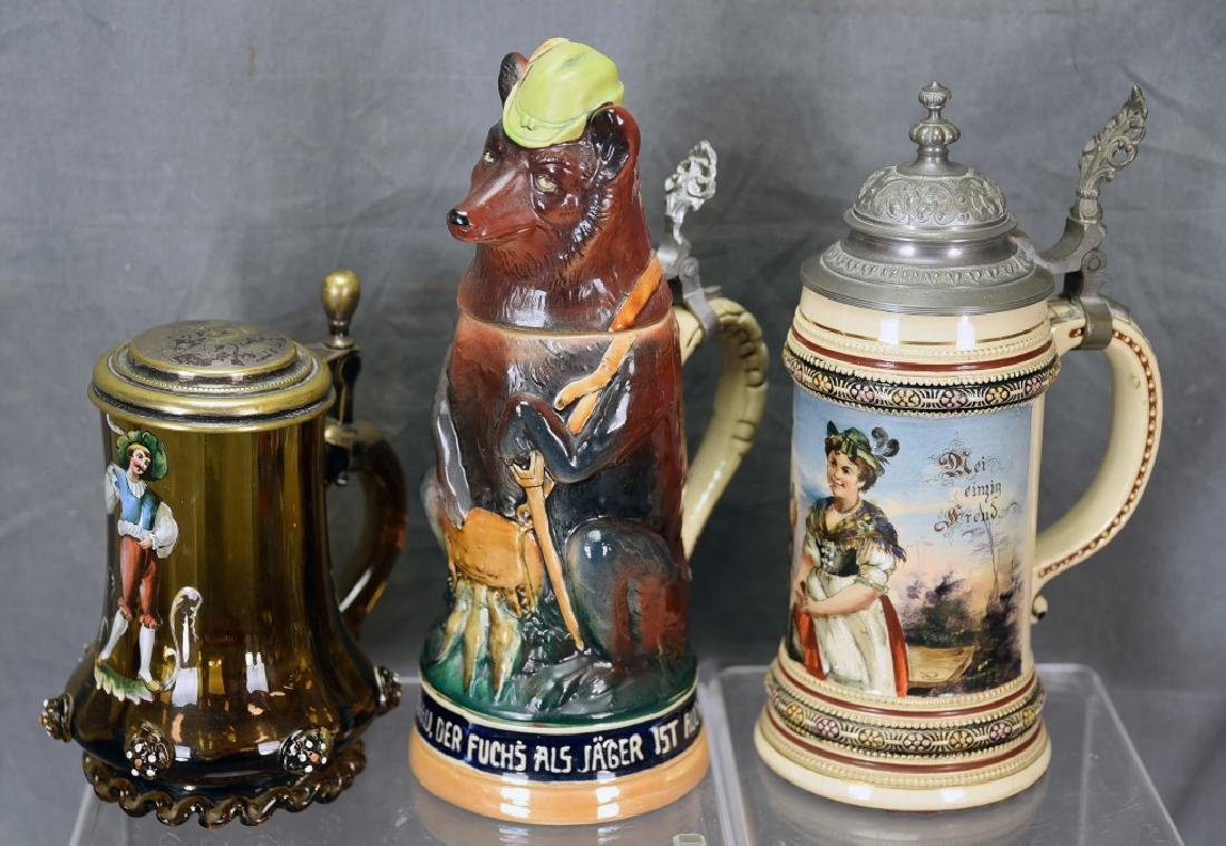 3 Antique German Steins, Figural Bear and More
