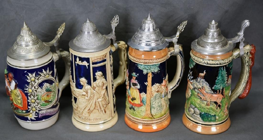 4 Embossed Relief German Steins Hinged Pewter Lids