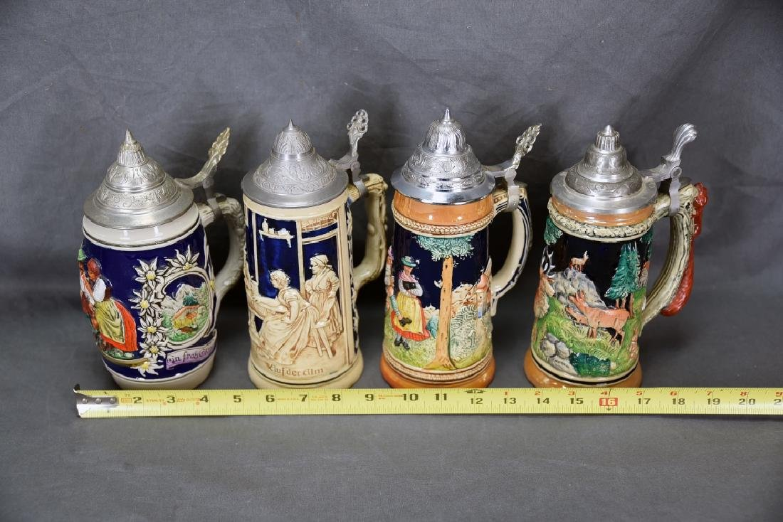 4 Embossed Relief German Steins Hinged Pewter Lids - 2