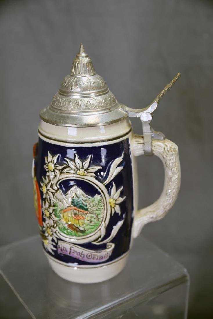 4 Embossed Relief German Steins Hinged Pewter Lids - 5