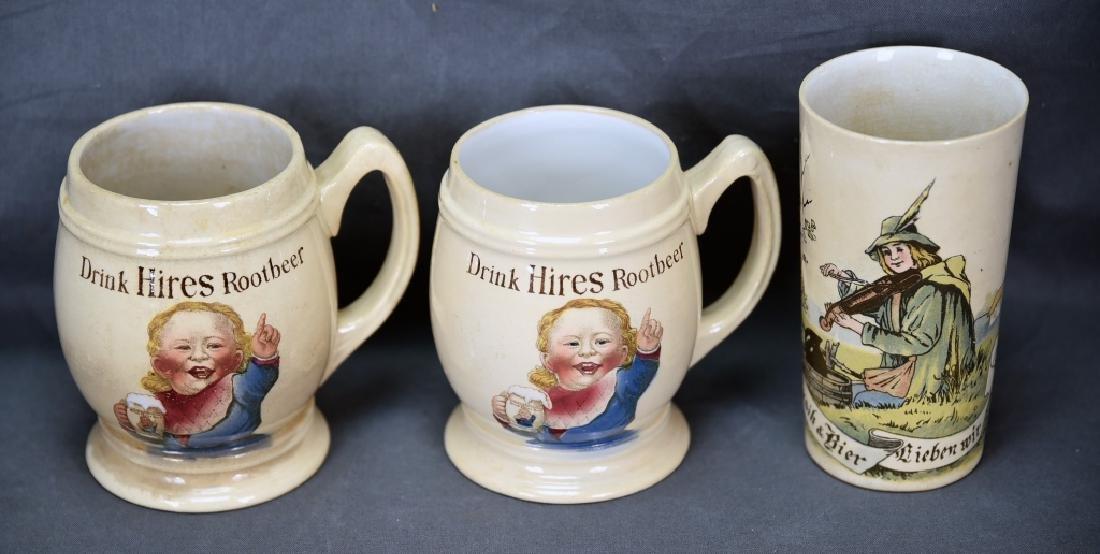 3 Vintage Mettlach Transfer Mugs, Hires Rootbeer
