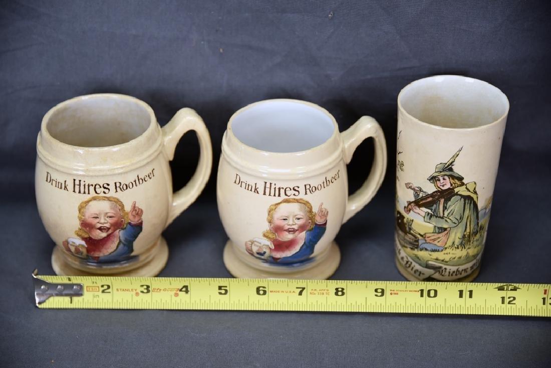 3 Vintage Mettlach Transfer Mugs, Hires Rootbeer - 2