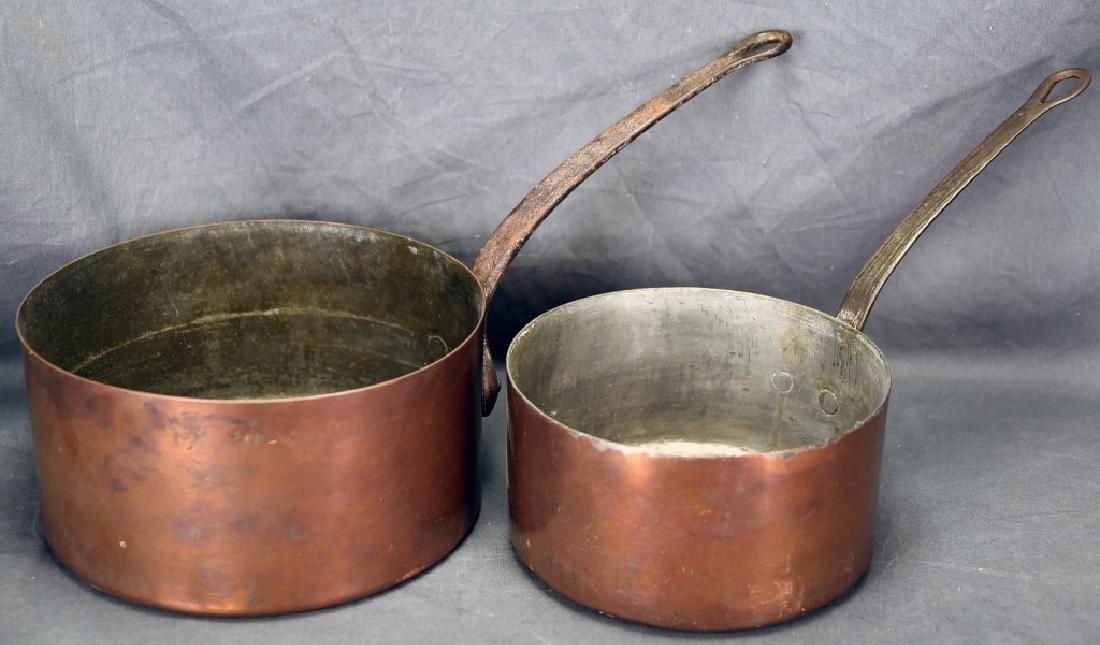 2 Vintage Large Copper Sauce Pans