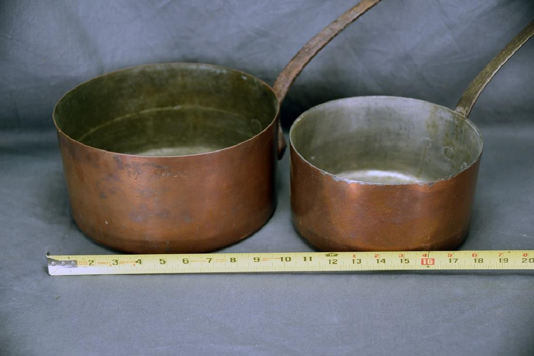 2 Vintage Large Copper Sauce Pans - 2
