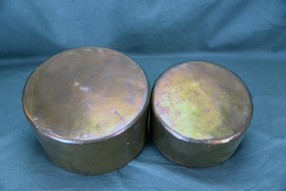 2 Vintage Large Copper Sauce Pans - 3
