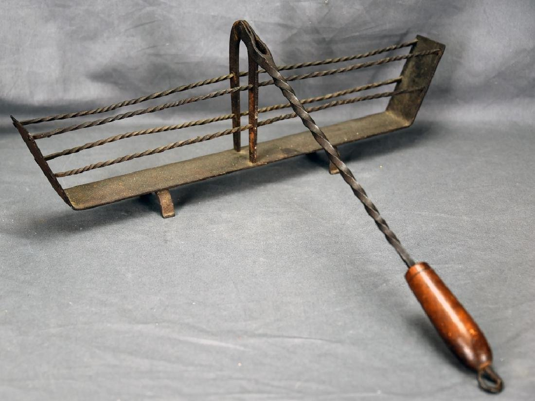 19th C. Hand Wrought Iron Fireplace Toaster