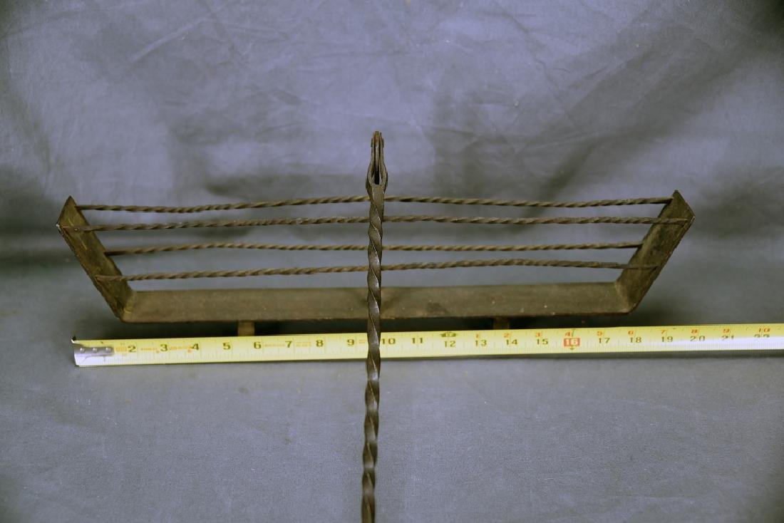 19th C. Hand Wrought Iron Fireplace Toaster - 2