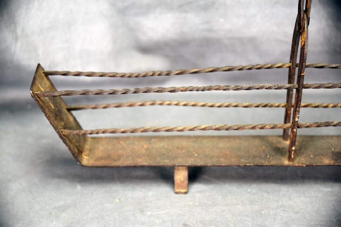 19th C. Hand Wrought Iron Fireplace Toaster - 5