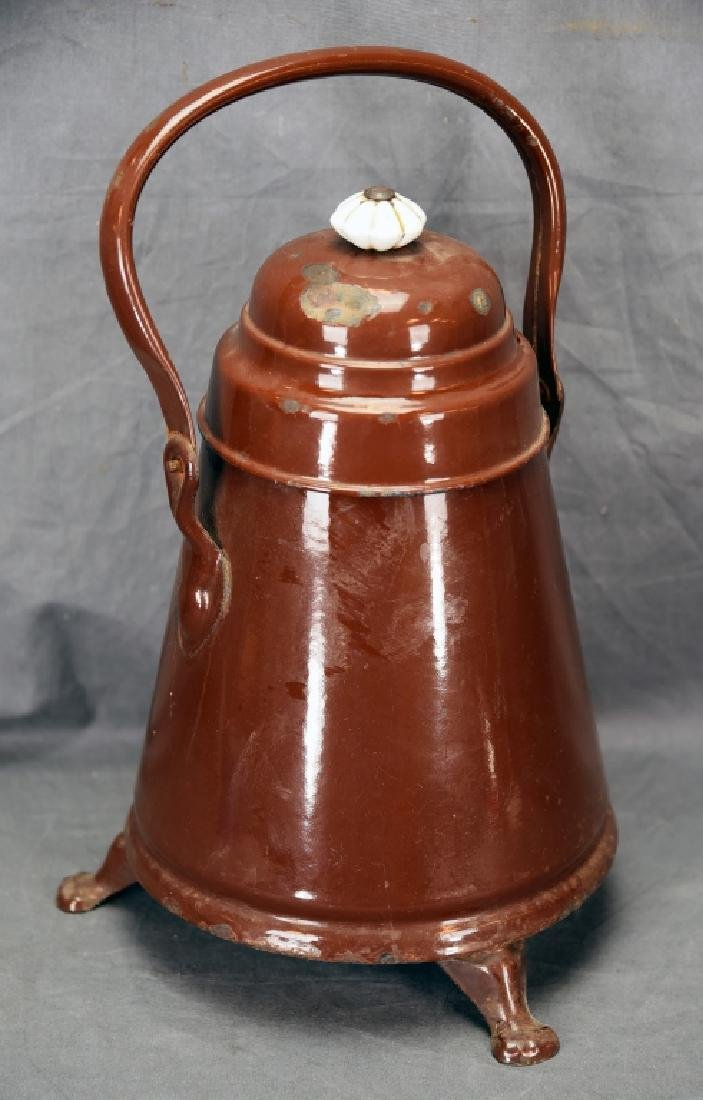 3 Footed Brown Enamel Ware Pot with Lid