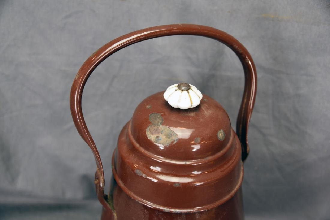 3 Footed Brown Enamel Ware Pot with Lid - 4