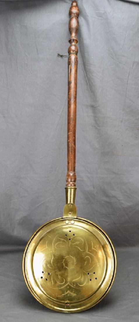 Antique Engraved Spun Brass Bedwarmer