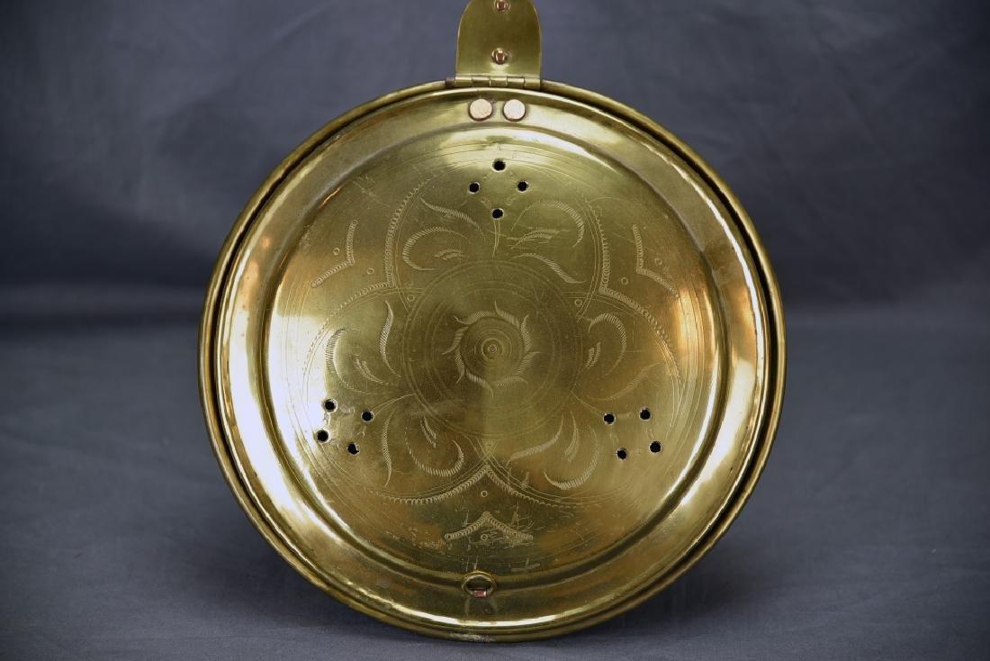Antique Engraved Spun Brass Bedwarmer - 2