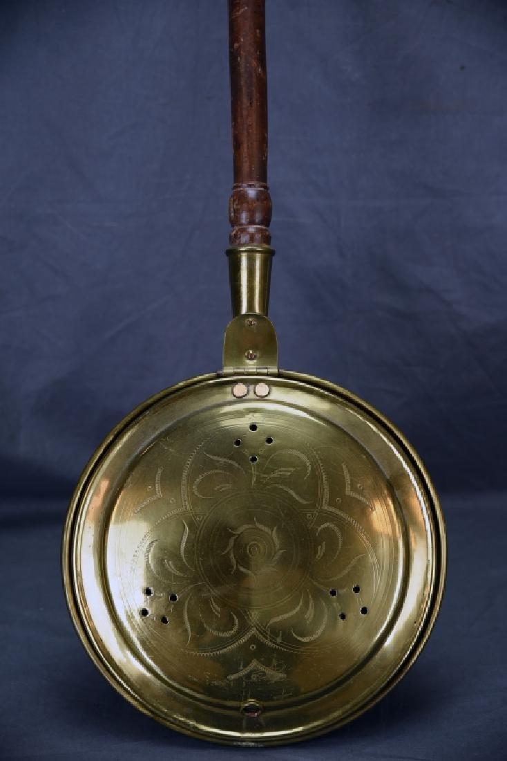 Antique Engraved Spun Brass Bedwarmer - 3