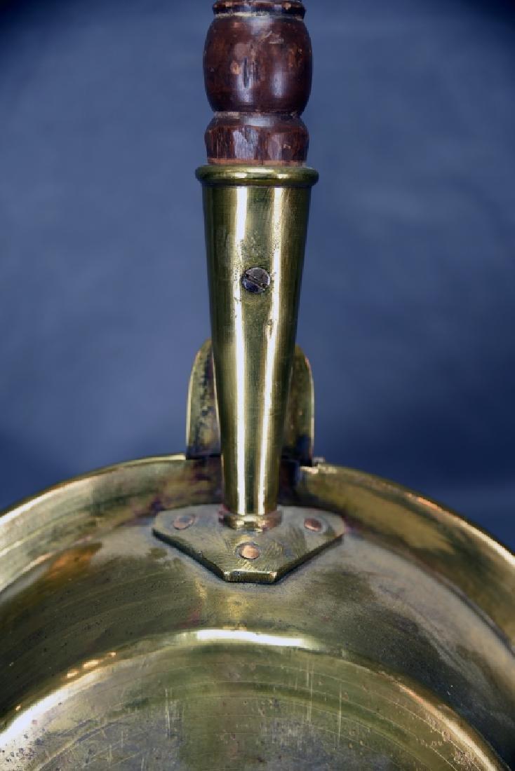Antique Engraved Spun Brass Bedwarmer - 5