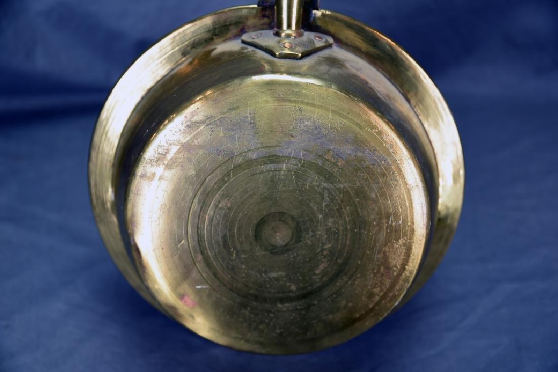 Antique Engraved Spun Brass Bedwarmer - 7