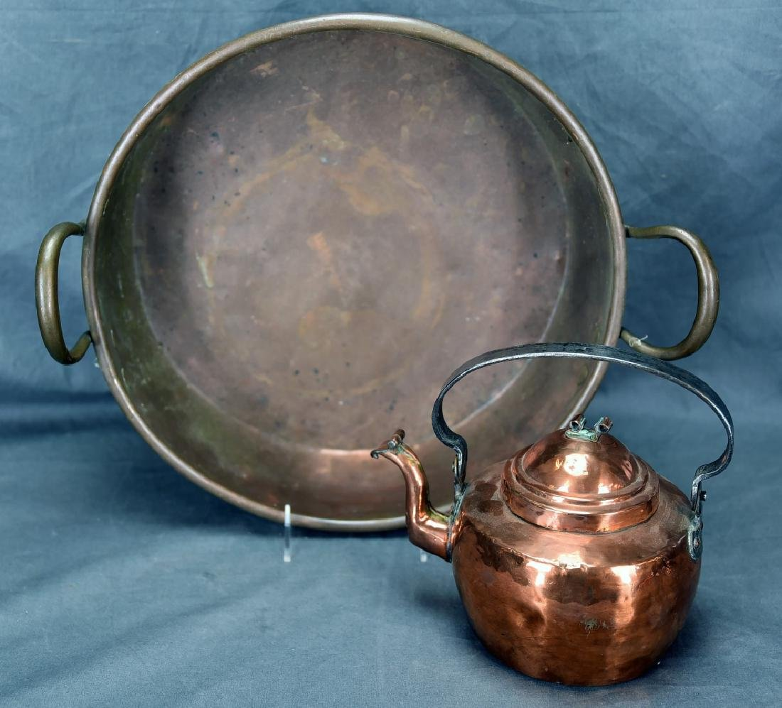 Copper 2 Handled Pan and Hand Made Copper Kettle