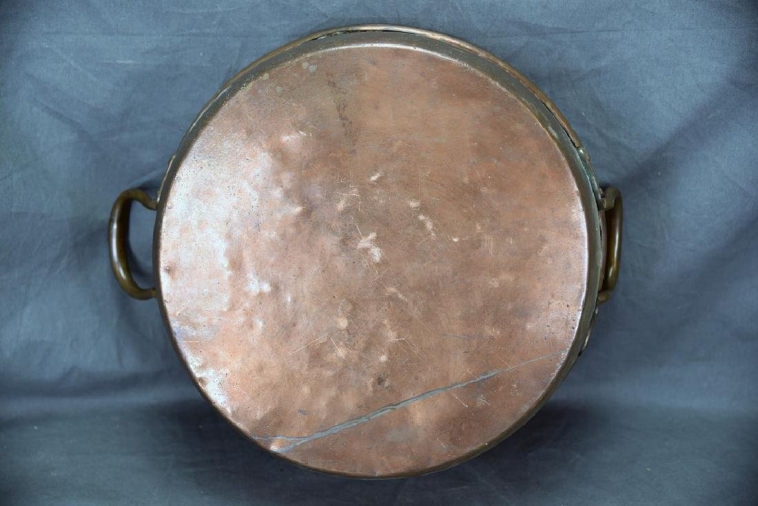 Copper 2 Handled Pan and Hand Made Copper Kettle - 3