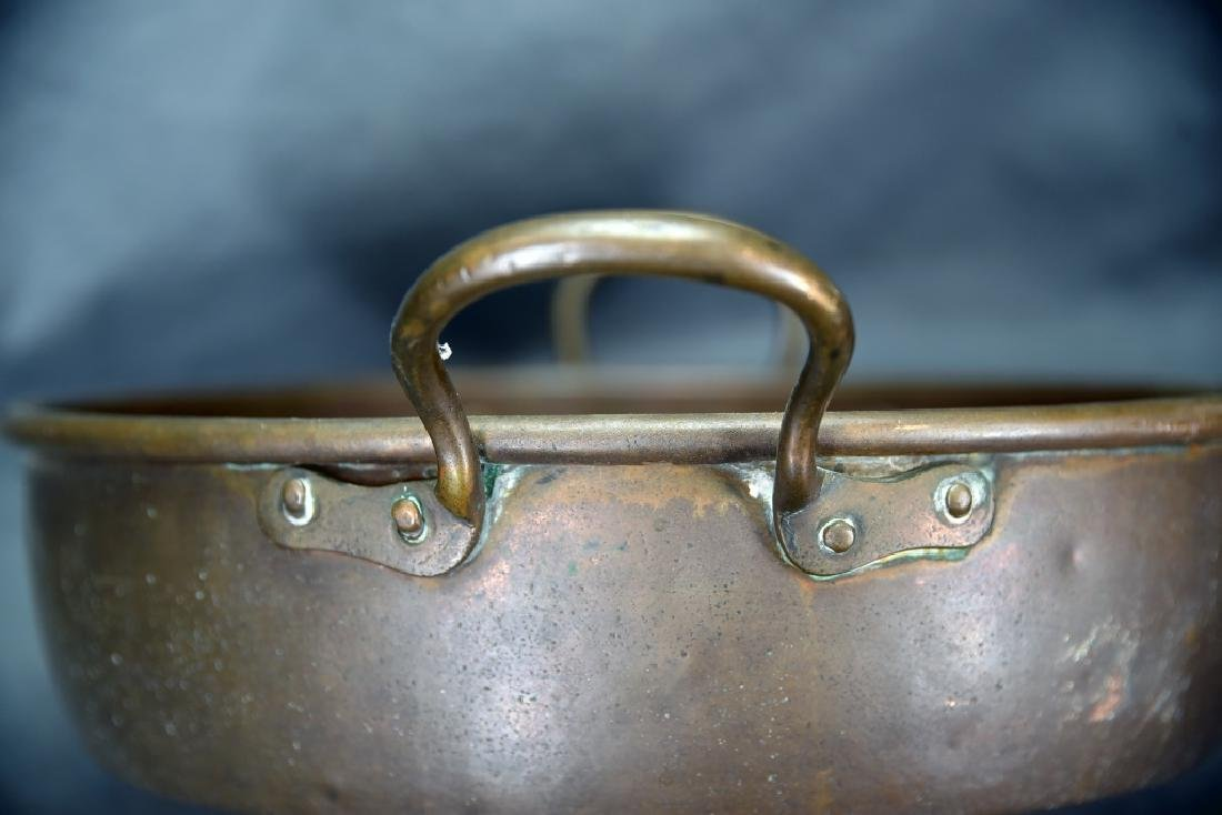 Copper 2 Handled Pan and Hand Made Copper Kettle - 4