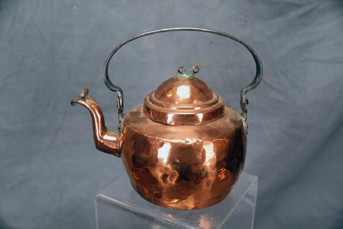 Copper 2 Handled Pan and Hand Made Copper Kettle - 5
